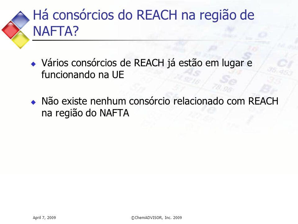 Há consórcios do REACH na região de NAFTA?  Vários consórcios de REACH já estão em lugar e funcionando na UE  Não existe nenhum consórcio relacionad