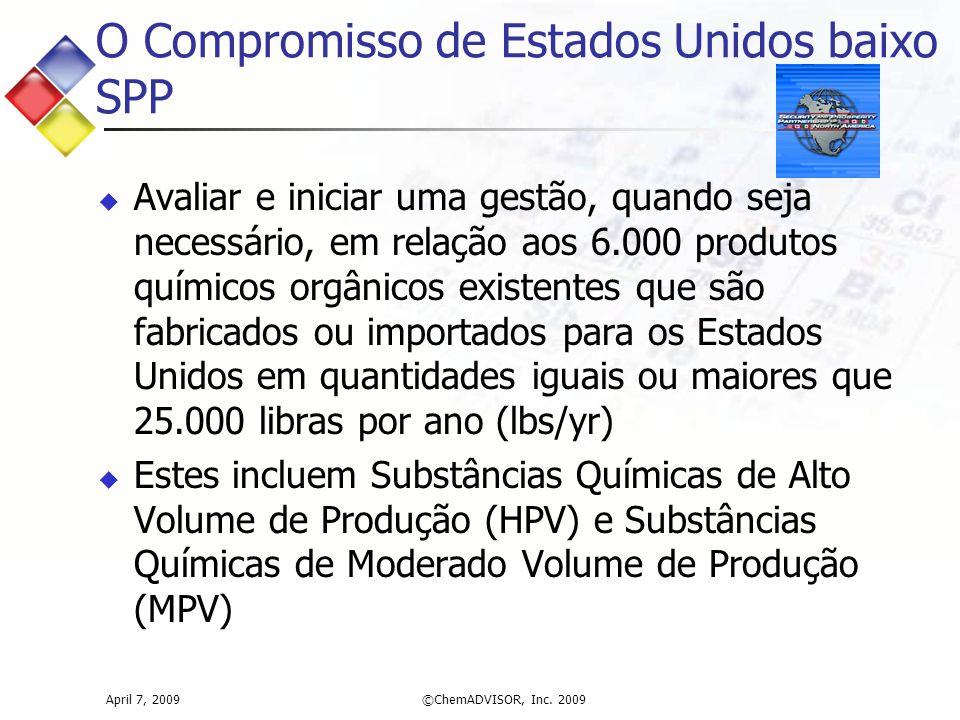 April 7, 2009©ChemADVISOR, Inc. 2009 O Compromisso de Estados Unidos baixo SPP  Avaliar e iniciar uma gestão, quando seja necessário, em relação aos