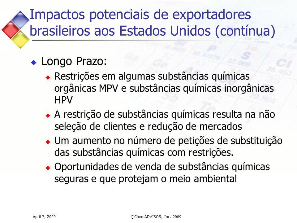 Impactos potenciais de exportadores brasileiros aos Estados Unidos ( contínua )  Longo Prazo:  Restrições em algumas substâncias químicas orgânicas