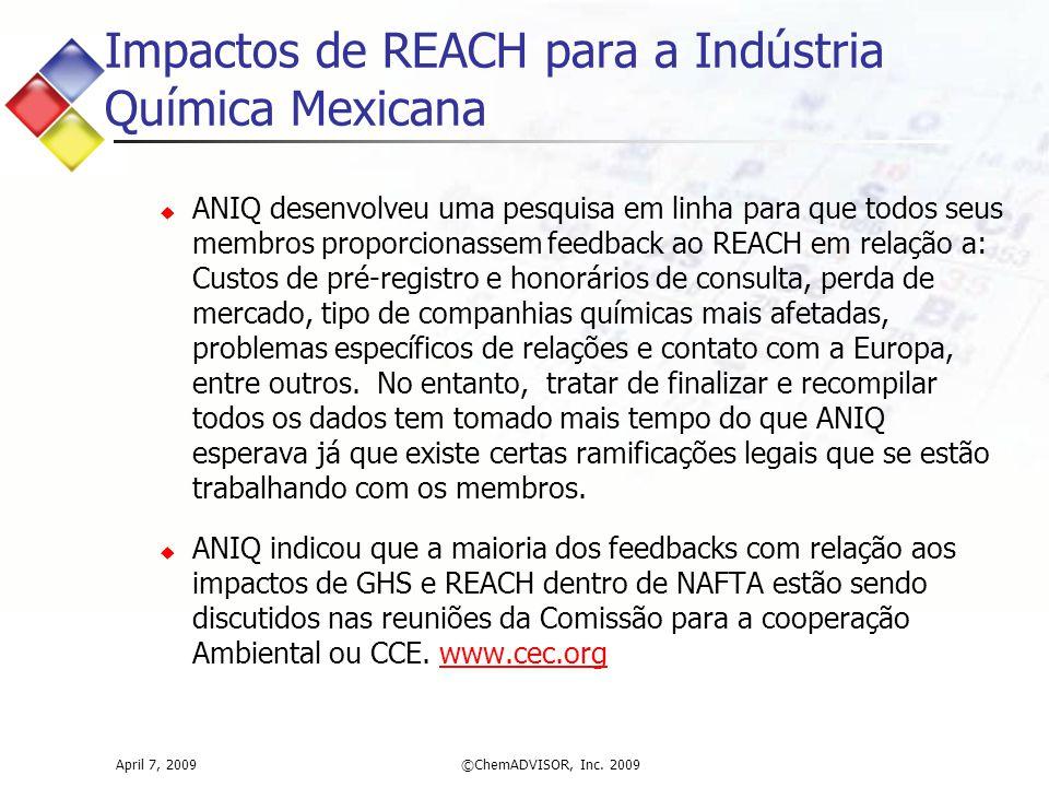 Impactos de REACH para a Indústria Química Mexicana  ANIQ desenvolveu uma pesquisa em linha para que todos seus membros proporcionassem feedback ao REACH em relação a: Custos de pré-registro e honorários de consulta, perda de mercado, tipo de companhias químicas mais afetadas, problemas específicos de relações e contato com a Europa, entre outros.