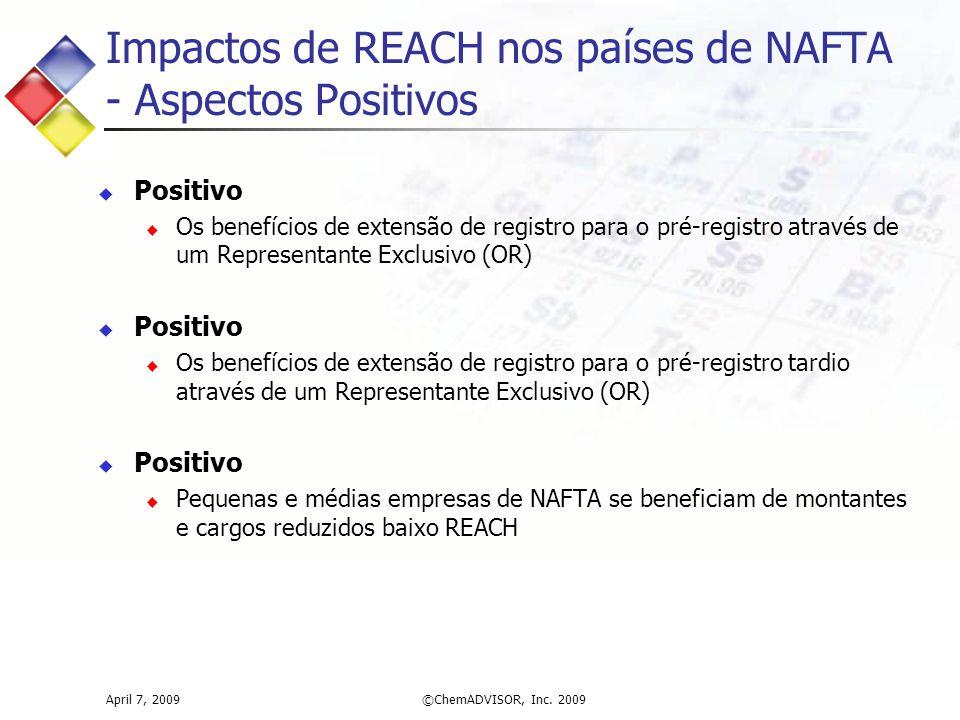 Impactos de REACH nos países de NAFTA - Aspectos Positivos April 7, 2009©ChemADVISOR, Inc. 2009  Positivo  Os benefícios de extensão de registro par