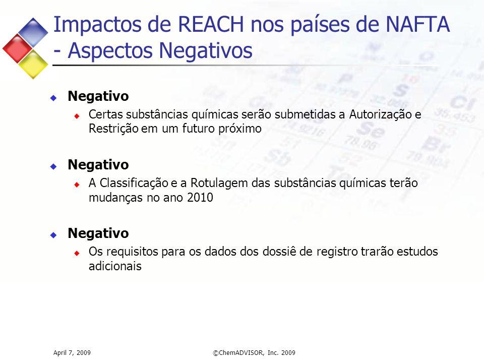 Impactos de REACH nos países de NAFTA - Aspectos Negativos April 7, 2009©ChemADVISOR, Inc. 2009  Negativo  Certas substâncias químicas serão submeti