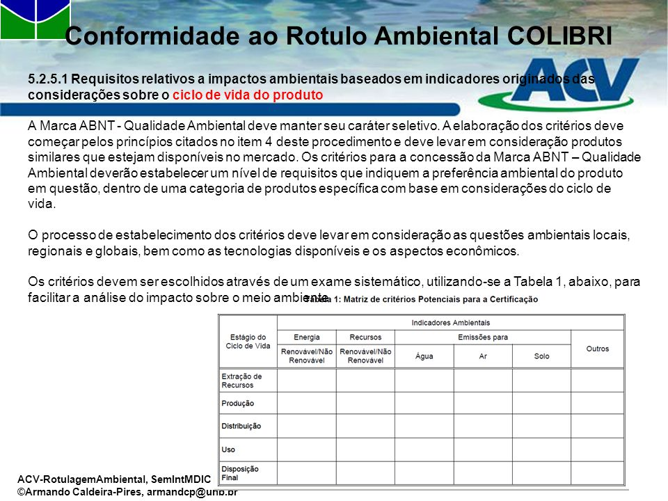 ACV-RotulagemAmbiental, SemIntMDIC Dez09 ©Armando Caldeira-Pires, armandcp@unb.br Conformidade ao Rotulo Ambiental COLIBRI 5.2.5.1 Requisitos relativo
