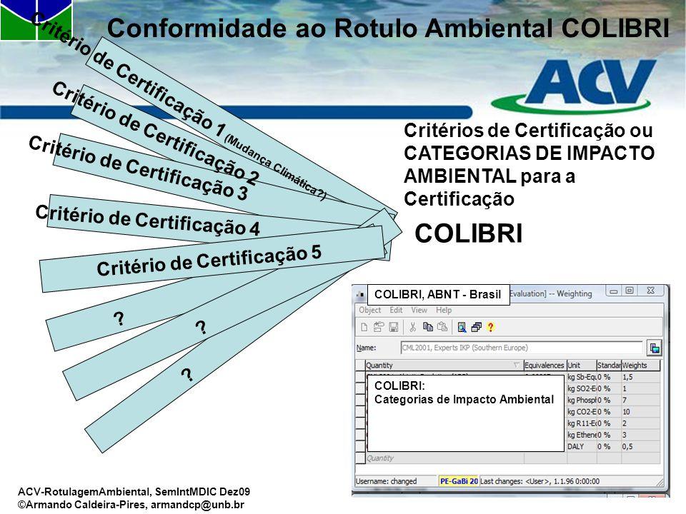 ACV-RotulagemAmbiental, SemIntMDIC Dez09 ©Armando Caldeira-Pires, armandcp@unb.br Critérios de Certificação ou CATEGORIAS DE IMPACTO AMBIENTAL para a