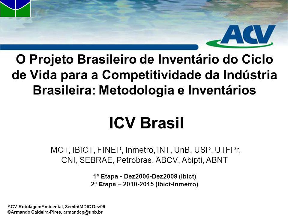 ACV-RotulagemAmbiental, SemIntMDIC Dez09 ©Armando Caldeira-Pires, armandcp@unb.br O Projeto Brasileiro de Inventário do Ciclo de Vida para a Competiti