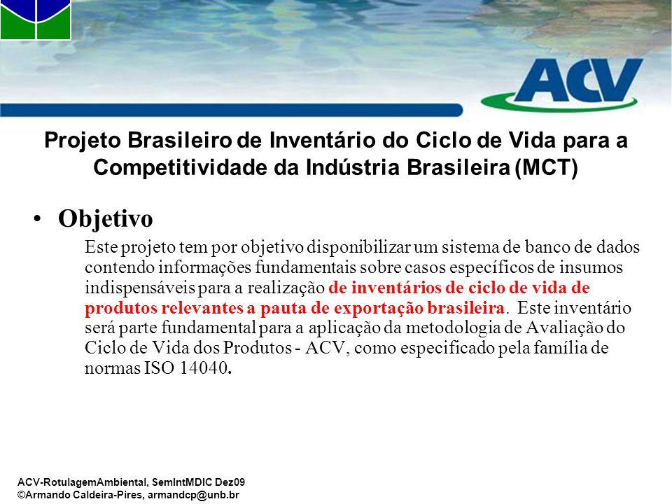 ACV-RotulagemAmbiental, SemIntMDIC Dez09 ©Armando Caldeira-Pires, armandcp@unb.br Projeto Brasileiro de Inventário do Ciclo de Vida para a Competitivi