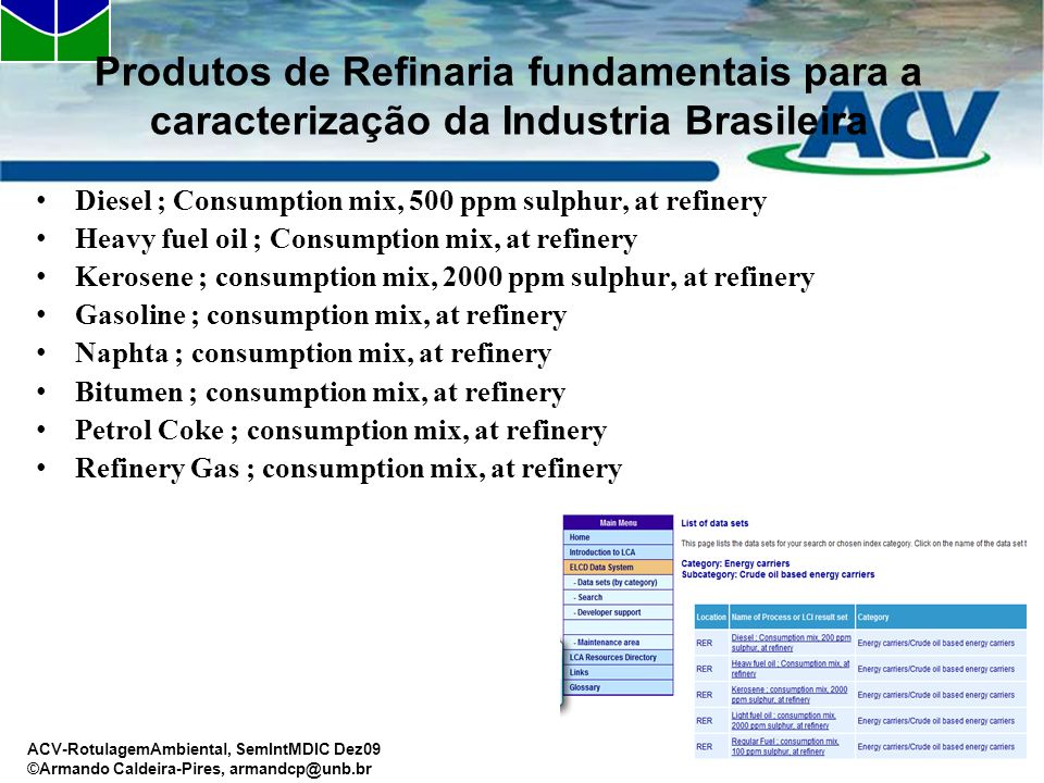 ACV-RotulagemAmbiental, SemIntMDIC Dez09 ©Armando Caldeira-Pires, armandcp@unb.br Produtos de Refinaria fundamentais para a caracterização da Industria Brasileira Diesel ; Consumption mix, 500 ppm sulphur, at refinery Heavy fuel oil ; Consumption mix, at refinery Kerosene ; consumption mix, 2000 ppm sulphur, at refinery Gasoline ; consumption mix, at refinery Naphta ; consumption mix, at refinery Bitumen ; consumption mix, at refinery Petrol Coke ; consumption mix, at refinery Refinery Gas ; consumption mix, at refinery