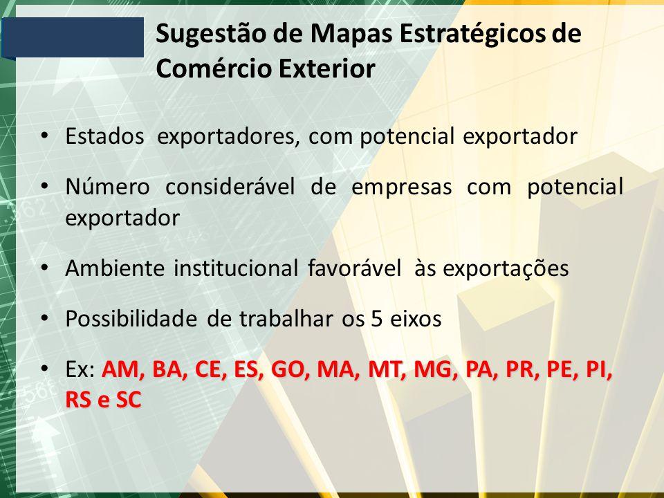 Sugestão de Mapas Estratégicos de Comércio Exterior Estados exportadores, com potencial exportador Número considerável de empresas com potencial expor