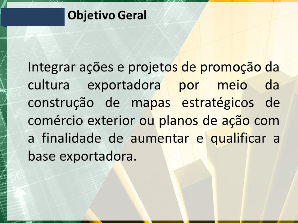 Objetivo Geral Integrar ações e projetos de promoção da cultura exportadora por meio da construção de mapas estratégicos de comércio exterior ou planos de ação com a finalidade de aumentar e qualificar a base exportadora.