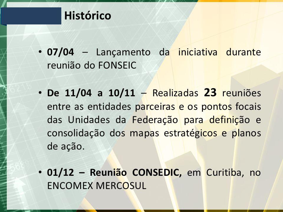 Histórico 07/04 – Lançamento da iniciativa durante reunião do FONSEIC De 11/04 a 10/11 – Realizadas 23 reuniões entre as entidades parceiras e os pont