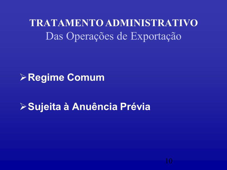 10 TRATAMENTO ADMINISTRATIVO Das Operações de Exportação  Regime Comum  Sujeita à Anuência Prévia