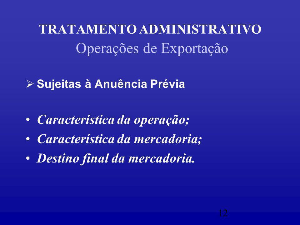 12 TRATAMENTO ADMINISTRATIVO Operações de Exportação  Sujeitas à Anuência Prévia Característica da operação; Característica da mercadoria; Destino final da mercadoria.