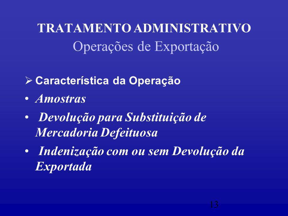 13 TRATAMENTO ADMINISTRATIVO Operações de Exportação  Característica da Operação Amostras Devolução para Substituição de Mercadoria Defeituosa Indenização com ou sem Devolução da Exportada