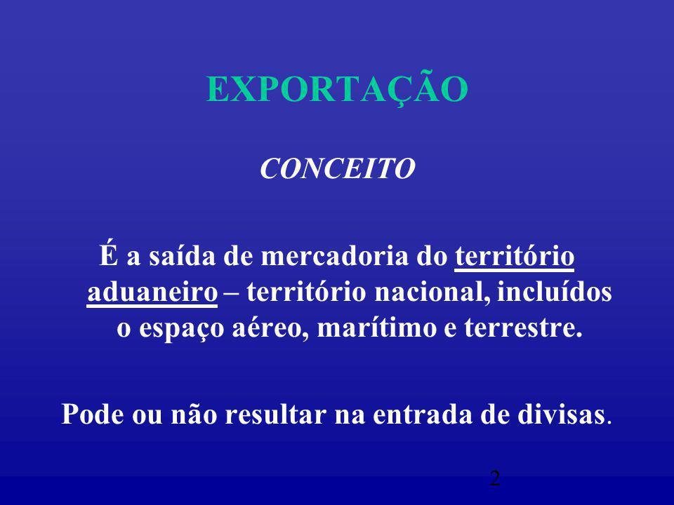 2 EXPORTAÇÃO CONCEITO É a saída de mercadoria do território aduaneiro – território nacional, incluídos o espaço aéreo, marítimo e terrestre.