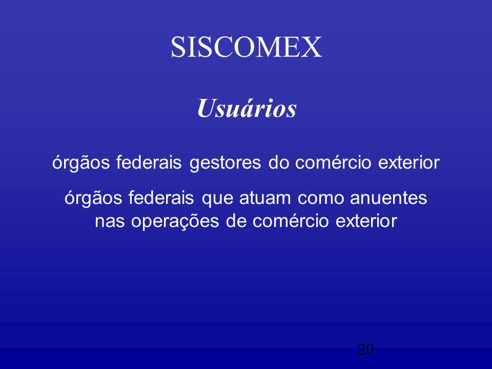 20 SISCOMEX Usuários órgãos federais gestores do comércio exterior órgãos federais que atuam como anuentes nas operações de comércio exterior