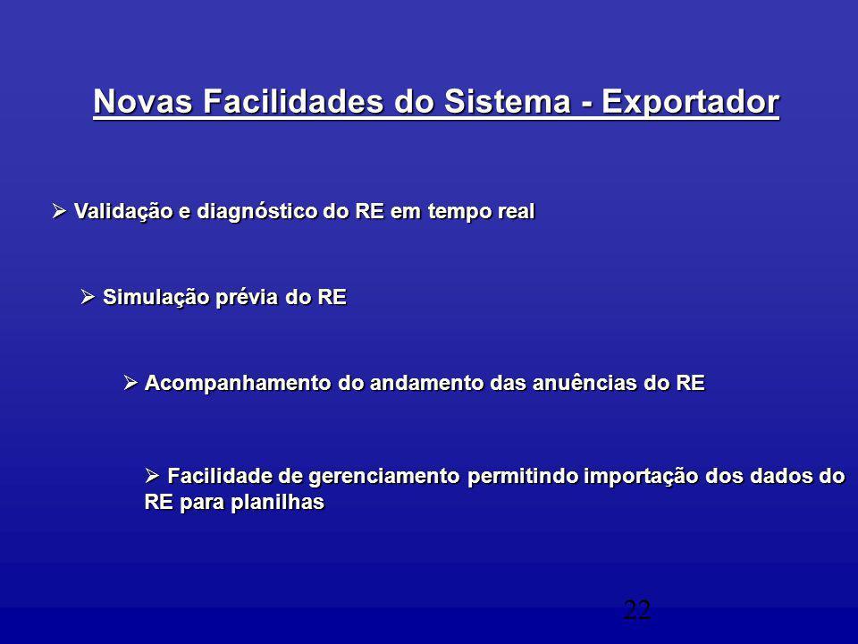 22  Acompanhamento do andamento das anuências do RE  Simulação prévia do RE  Validação e diagnóstico do RE em tempo real Novas Facilidades do Sistema - Exportador  Facilidade de gerenciamento permitindo importação dos dados do RE para planilhas