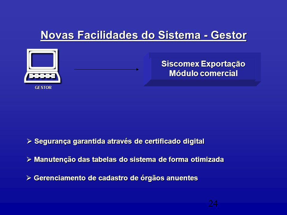 24  Manutenção das tabelas do sistema de forma otimizada  Gerenciamento de cadastro de órgãos anuentes Siscomex Exportação Módulo comercial  Segurança garantida através de certificado digital Novas Facilidades do Sistema - Gestor GESTOR