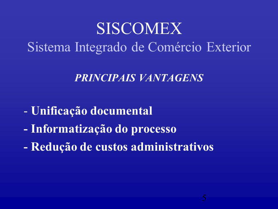 5 SISCOMEX Sistema Integrado de Comércio Exterior PRINCIPAIS VANTAGENS - Unificação documental - Informatização do processo - Redução de custos administrativos