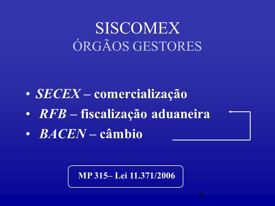 6 SISCOMEX ÓRGÃOS GESTORES SECEX – comercialização RFB – fiscalização aduaneira BACEN – câmbio MP 315– Lei 11.371/2006