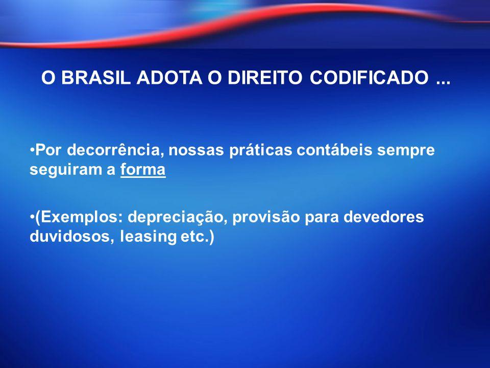 Por decorrência, nossas práticas contábeis sempre seguiram a forma (Exemplos: depreciação, provisão para devedores duvidosos, leasing etc.) O BRASIL A