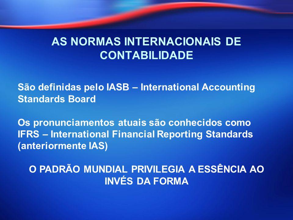 AS NORMAS INTERNACIONAIS DE CONTABILIDADE São definidas pelo IASB – International Accounting Standards Board Os pronunciamentos atuais são conhecidos