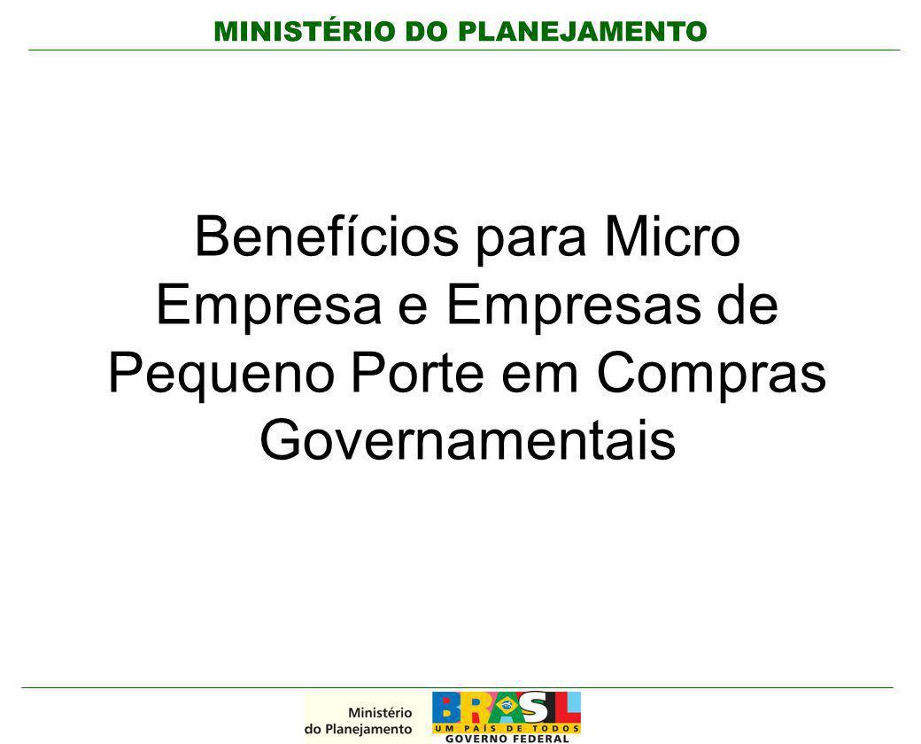 MINISTÉRIO DO PLANEJAMENTO Benefícios para Micro Empresa e Empresas de Pequeno Porte em Compras Governamentais