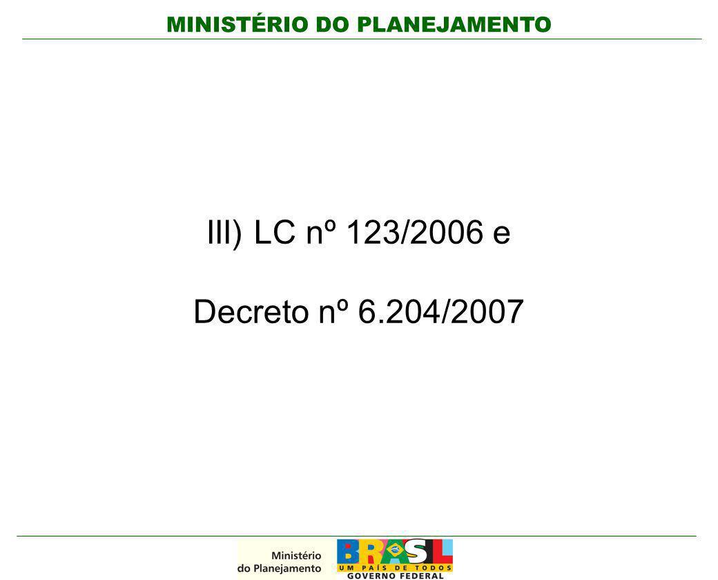 MINISTÉRIO DO PLANEJAMENTO III) LC nº 123/2006 e Decreto nº 6.204/2007