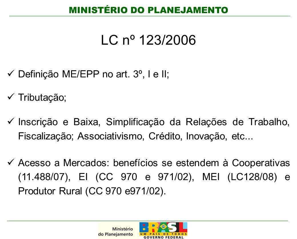 MINISTÉRIO DO PLANEJAMENTO LC nº 123/2006 Definição ME/EPP no art. 3º, I e II; Tributação; Inscrição e Baixa, Simplificação da Relações de Trabalho, F