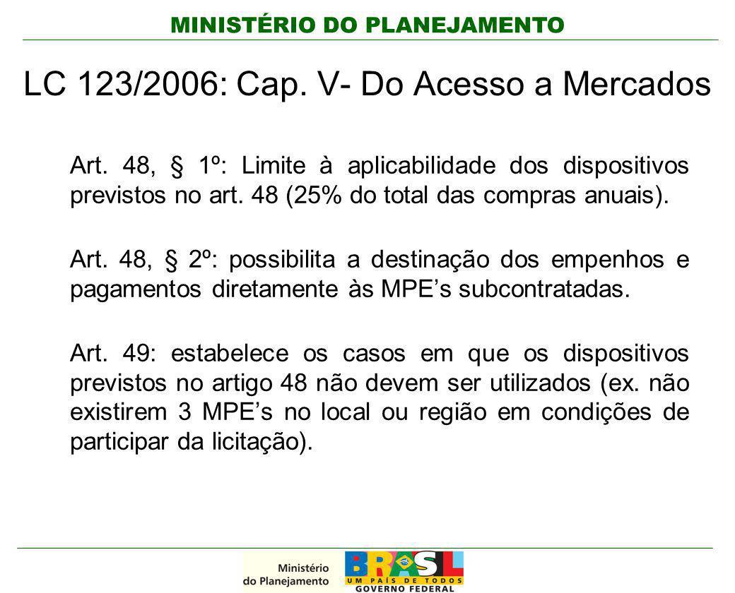 MINISTÉRIO DO PLANEJAMENTO Art. 48, § 1º: Limite à aplicabilidade dos dispositivos previstos no art. 48 (25% do total das compras anuais). Art. 48, §