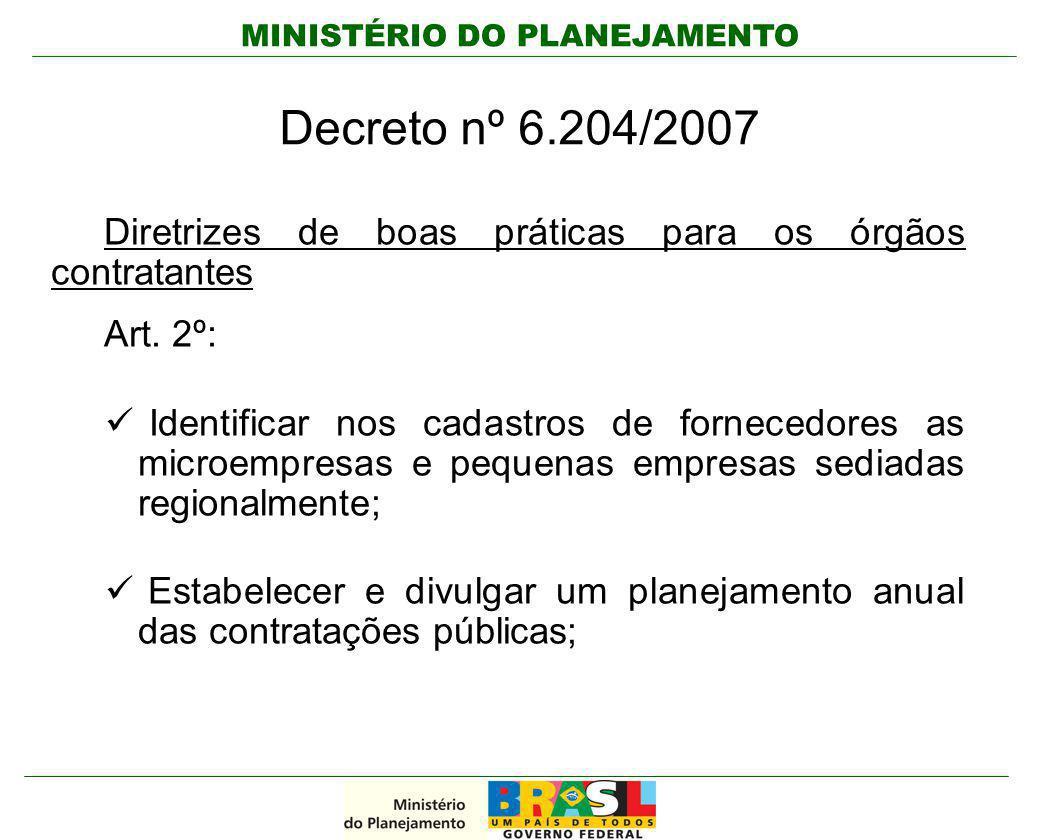 MINISTÉRIO DO PLANEJAMENTO Decreto nº 6.204/2007 Diretrizes de boas práticas para os órgãos contratantes Art. 2º: Identificar nos cadastros de fornece