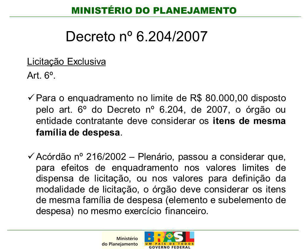 MINISTÉRIO DO PLANEJAMENTO Decreto nº 6.204/2007 Licitação Exclusiva Art. 6º. Para o enquadramento no limite de R$ 80.000,00 disposto pelo art. 6º do