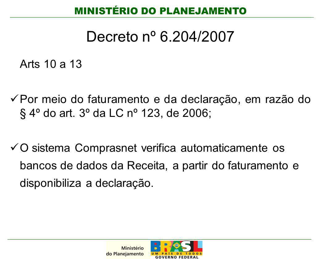 MINISTÉRIO DO PLANEJAMENTO Decreto nº 6.204/2007 Arts 10 a 13 Por meio do faturamento e da declaração, em razão do § 4º do art. 3º da LC nº 123, de 20