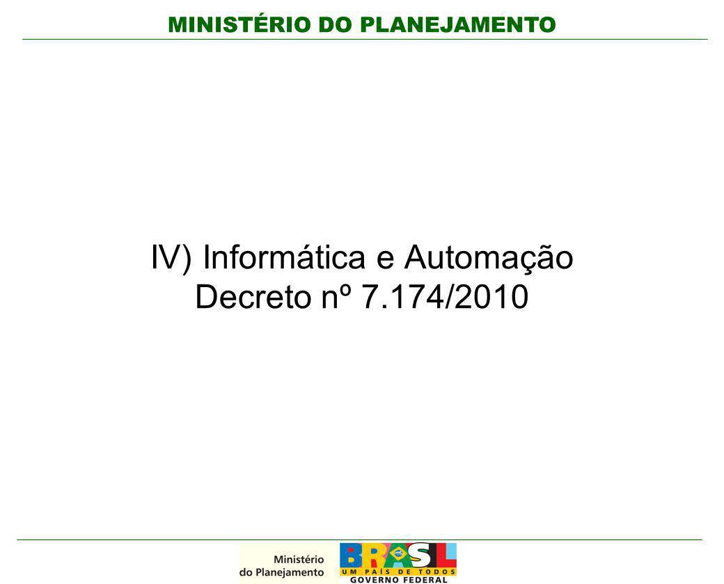 MINISTÉRIO DO PLANEJAMENTO IV) Informática e Automação Decreto nº 7.174/2010