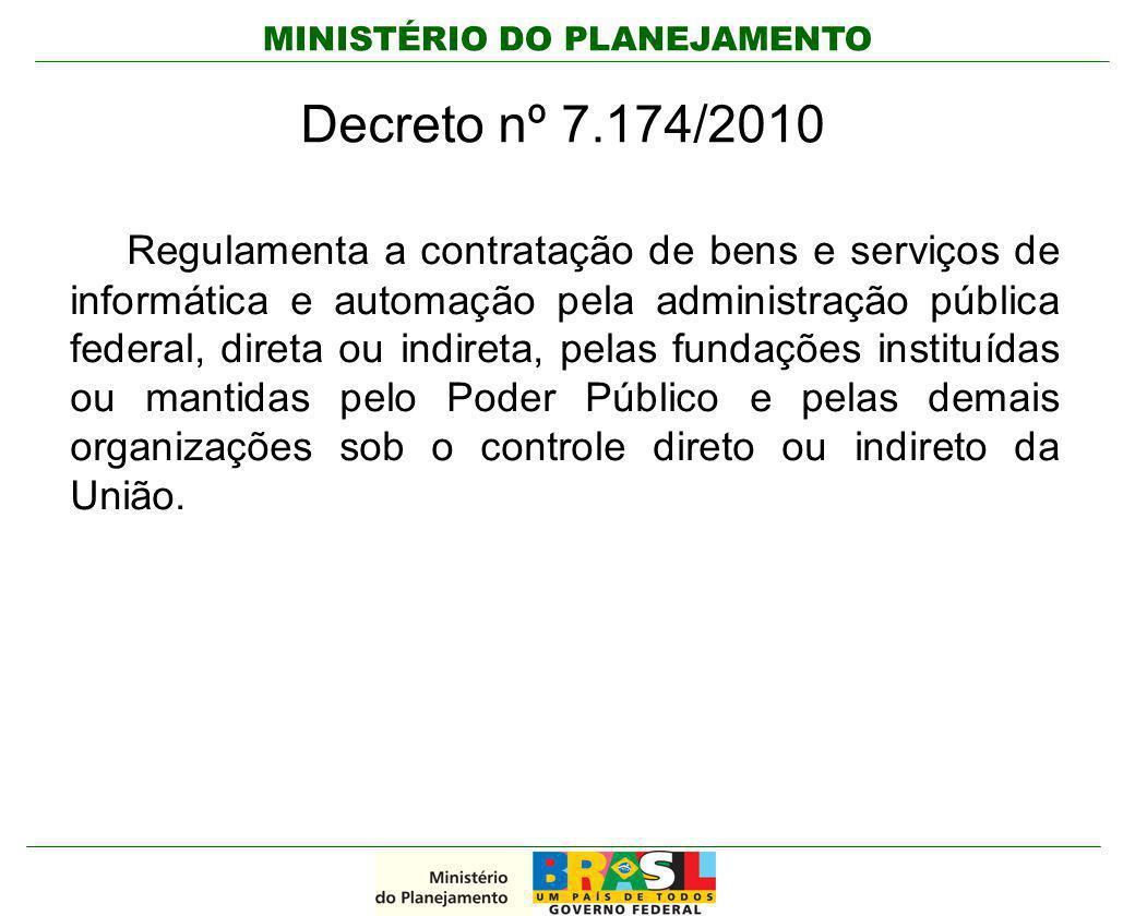 MINISTÉRIO DO PLANEJAMENTO Decreto nº 7.174/2010 Regulamenta a contratação de bens e serviços de informática e automação pela administração pública fe
