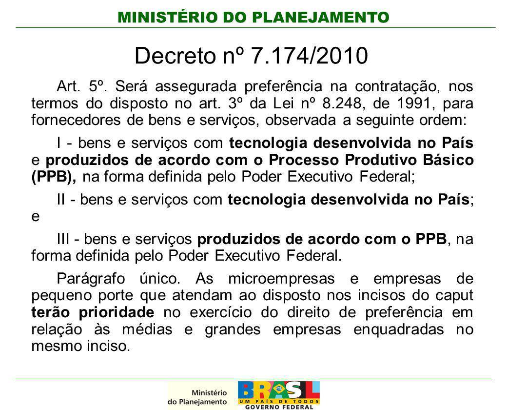 MINISTÉRIO DO PLANEJAMENTO Decreto nº 7.174/2010 Art. 5º. Será assegurada preferência na contratação, nos termos do disposto no art. 3º da Lei nº 8.24