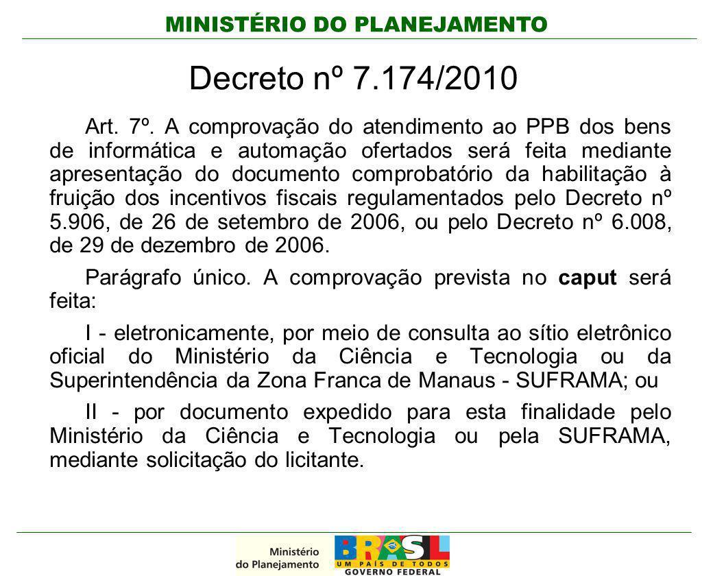MINISTÉRIO DO PLANEJAMENTO Decreto nº 7.174/2010 Art. 7º. A comprovação do atendimento ao PPB dos bens de informática e automação ofertados será feita