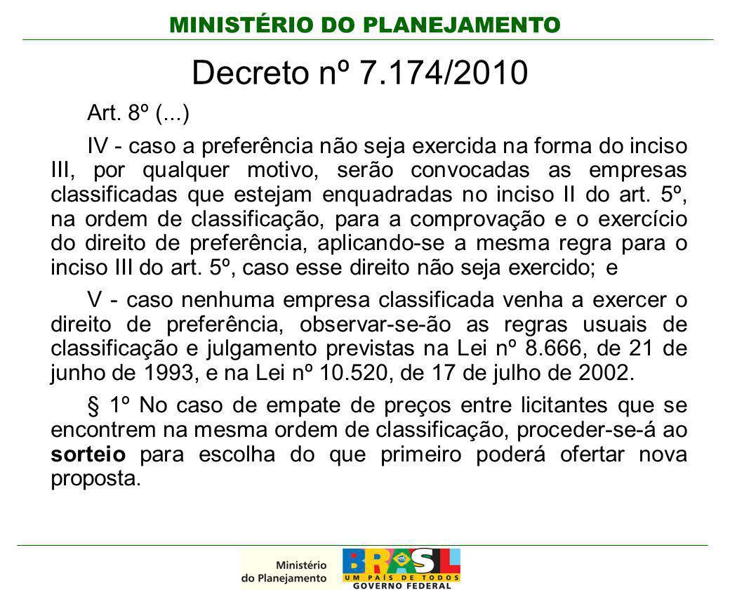 MINISTÉRIO DO PLANEJAMENTO Decreto nº 7.174/2010 Art. 8º (...) IV - caso a preferência não seja exercida na forma do inciso III, por qualquer motivo,