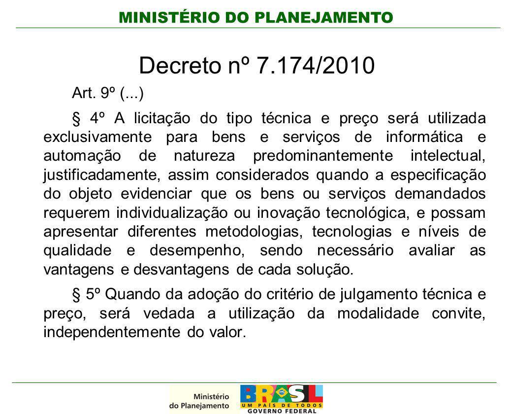 MINISTÉRIO DO PLANEJAMENTO Decreto nº 7.174/2010 Art. 9º (...) § 4º A licitação do tipo técnica e preço será utilizada exclusivamente para bens e serv
