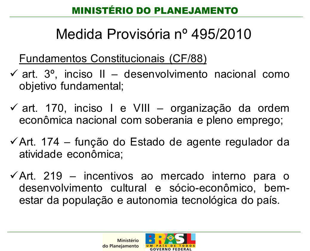 MINISTÉRIO DO PLANEJAMENTO Medida Provisória nº 495/2010 Fundamentos Constitucionais (CF/88) art. 3º, inciso II – desenvolvimento nacional como objeti