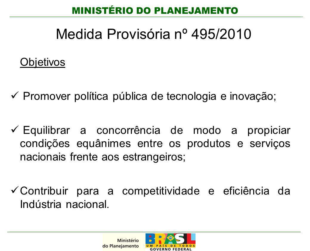 MINISTÉRIO DO PLANEJAMENTO Medida Provisória nº 495/2010 Objetivos Promover política pública de tecnologia e inovação; Equilibrar a concorrência de mo