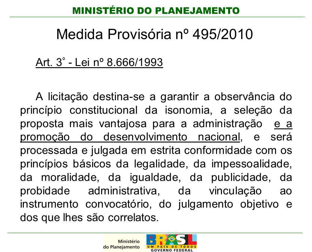 MINISTÉRIO DO PLANEJAMENTO Medida Provisória nº 495/2010 Art. 3 º - Lei nº 8.666/1993 A licitação destina-se a garantir a observância do princípio con