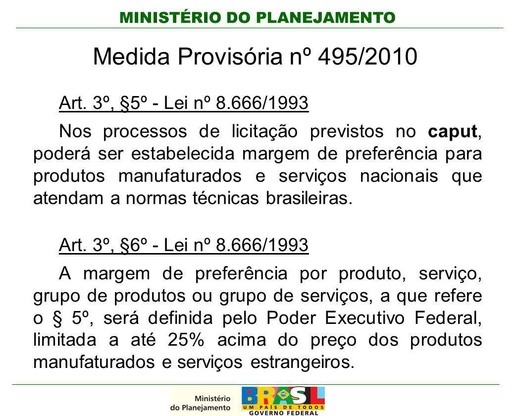 MINISTÉRIO DO PLANEJAMENTO Medida Provisória nº 495/2010 Art. 3º, §5º - Lei nº 8.666/1993 Nos processos de licitação previstos no caput, poderá ser es