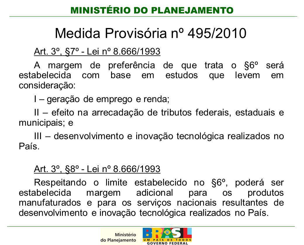 MINISTÉRIO DO PLANEJAMENTO Medida Provisória nº 495/2010 Art. 3º, §7º - Lei nº 8.666/1993 A margem de preferência de que trata o §6º será estabelecida