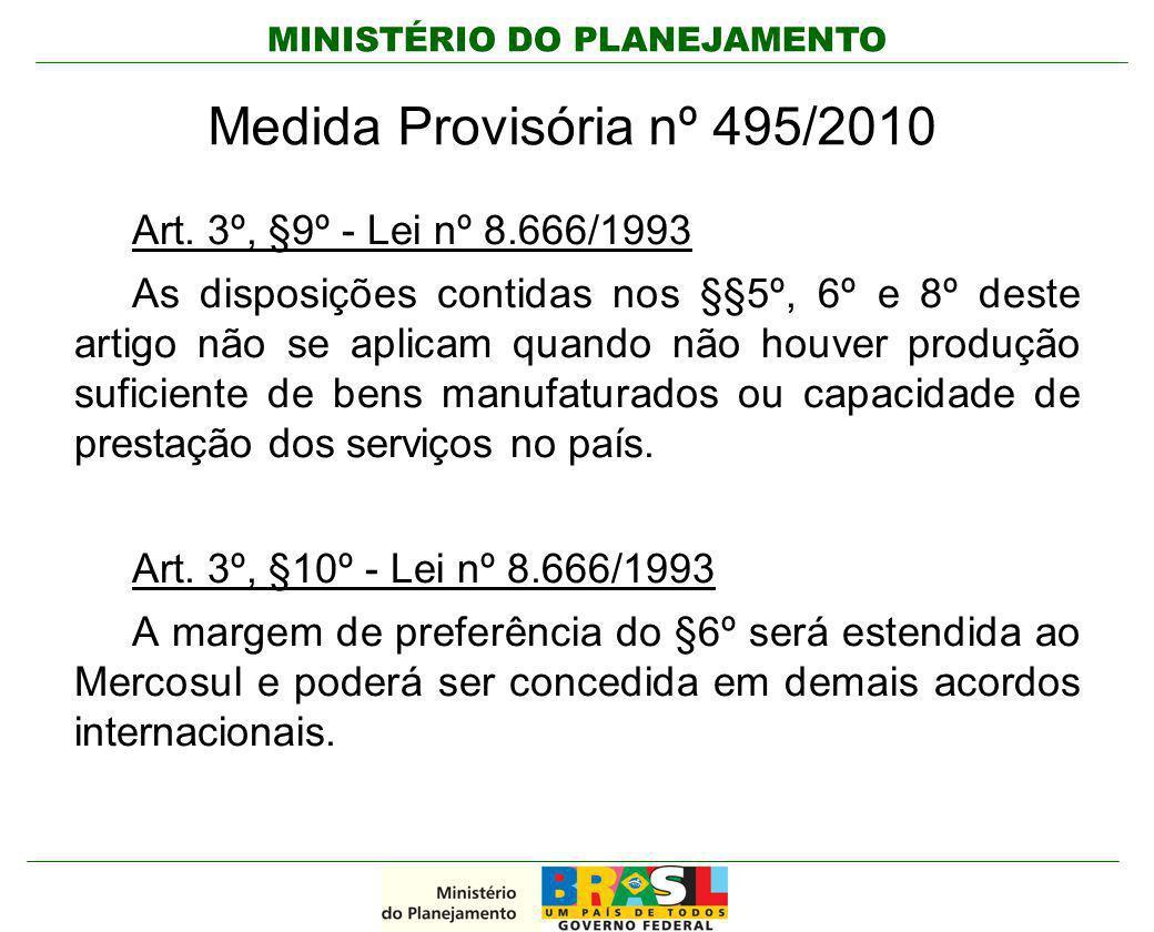 MINISTÉRIO DO PLANEJAMENTO Medida Provisória nº 495/2010 Art. 3º, §9º - Lei nº 8.666/1993 As disposições contidas nos §§5º, 6º e 8º deste artigo não s