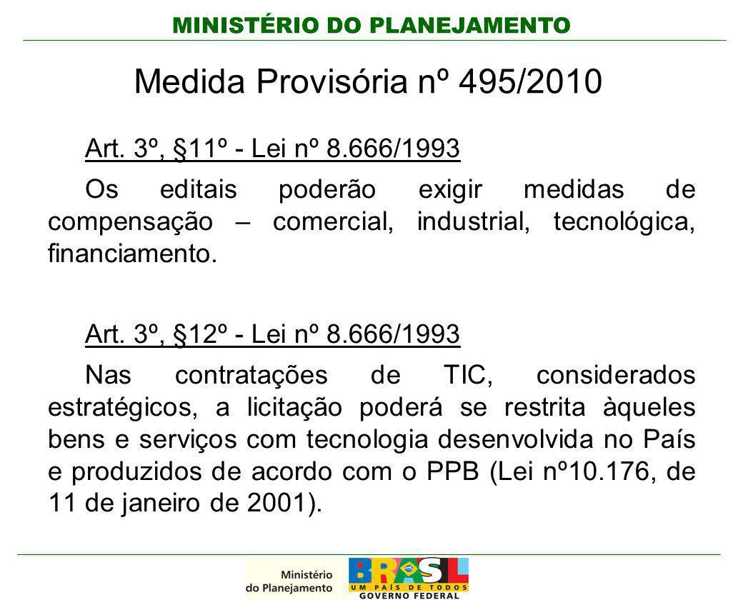 MINISTÉRIO DO PLANEJAMENTO Medida Provisória nº 495/2010 Art. 3º, §11º - Lei nº 8.666/1993 Os editais poderão exigir medidas de compensação – comercia