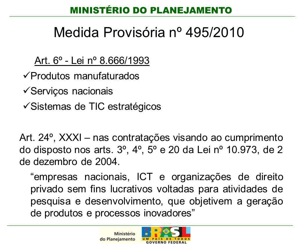 MINISTÉRIO DO PLANEJAMENTO Medida Provisória nº 495/2010 Art. 6º - Lei nº 8.666/1993 Produtos manufaturados Serviços nacionais Sistemas de TIC estraté