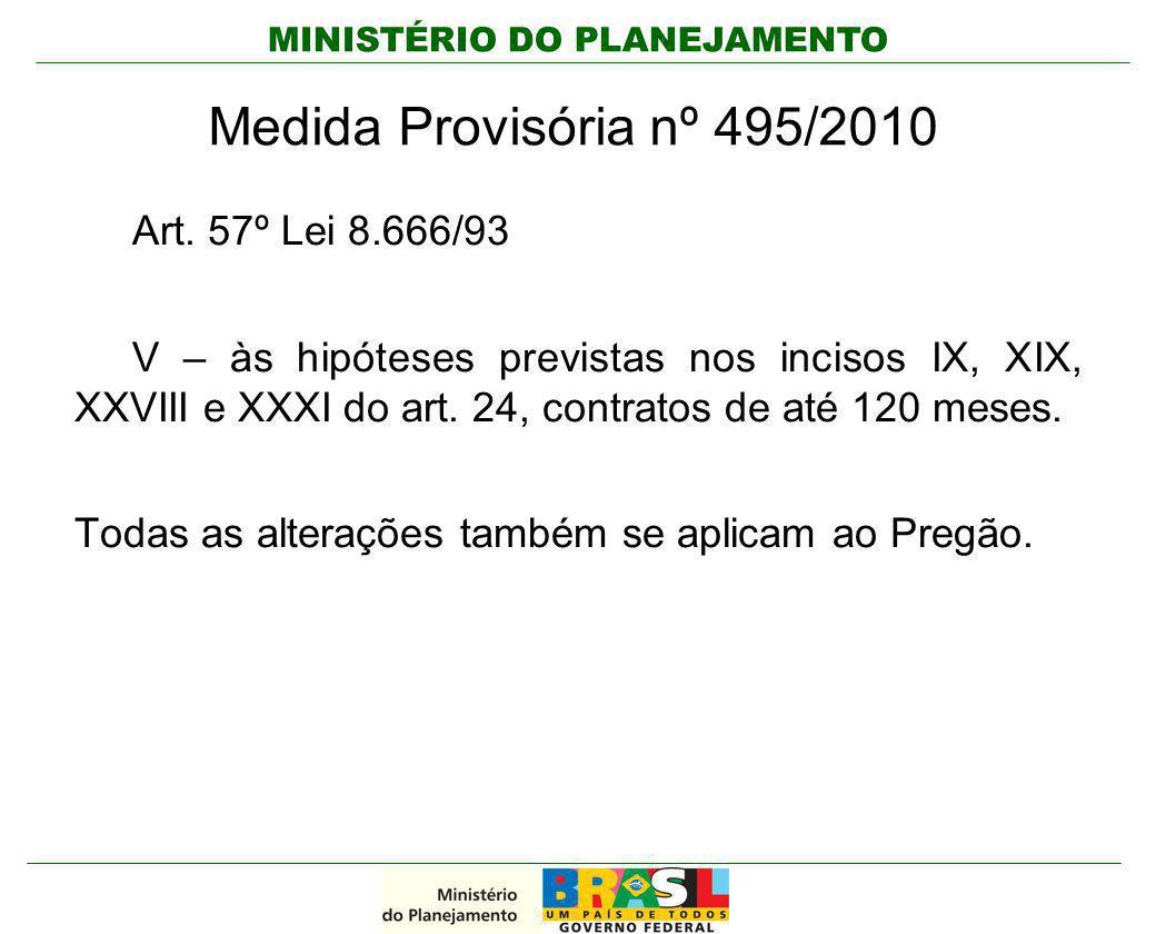 MINISTÉRIO DO PLANEJAMENTO Medida Provisória nº 495/2010 Art. 57º Lei 8.666/93 V – às hipóteses previstas nos incisos IX, XIX, XXVIII e XXXI do art. 2
