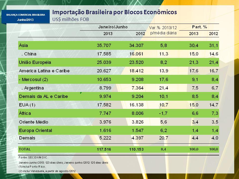 BALANÇA COMERCIAL BRASILEIRA Junho/2013 Importação Brasileira por Blocos Econômicos US$ milhões FOB