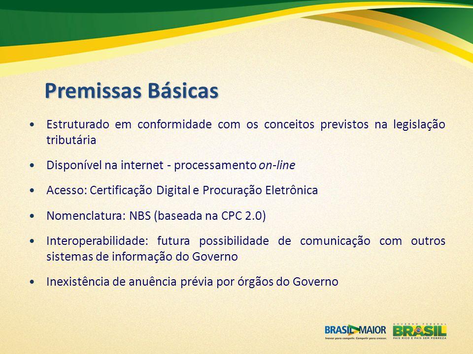 Premissas Básicas Estruturado em conformidade com os conceitos previstos na legislação tributária Disponível na internet - processamento on-line Acess