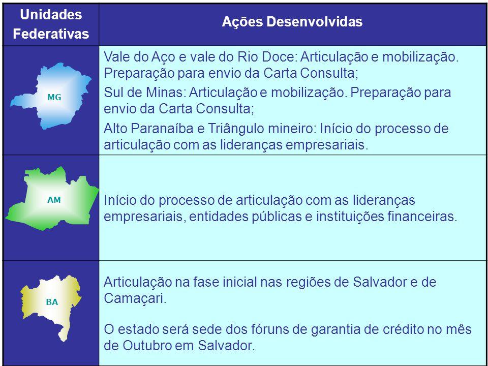 Unidades Federativas Ações Desenvolvidas Vale do Aço e vale do Rio Doce: Articulação e mobilização.